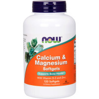 NOW Calcium & Magnesium with Vitamin D and Zinc õlikapslid (120 tk)